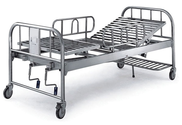Stainless Steel 2 Crank Manual Hospital Bed 2