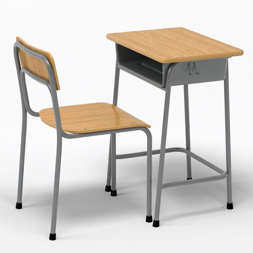 school desk and chair 3d model max obj 3ds fbx c4d
